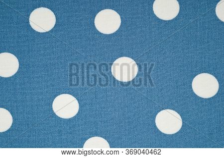 The Staple Fabric Is Gray-blue In White Peas. Lightweight Summer Fabric.