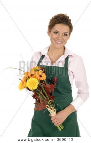 Florist Holding Flowers
