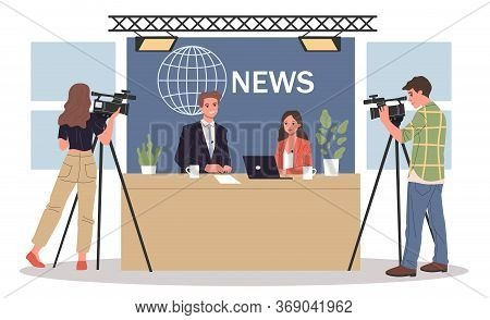Couple Of News Anchors. Cameramen, Presenters On Breaking News Background Flat Illustration. Tv Show
