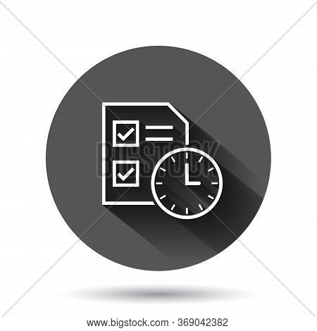 Contract Time Icon In Flat Style. Document With Clock Vector Illustration On Black Round Background