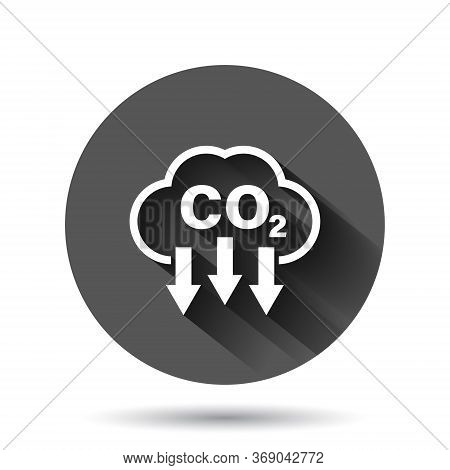 Co2 Icon In Flat Style. Emission Vector Illustration On Black Round Background With Long Shadow Effe