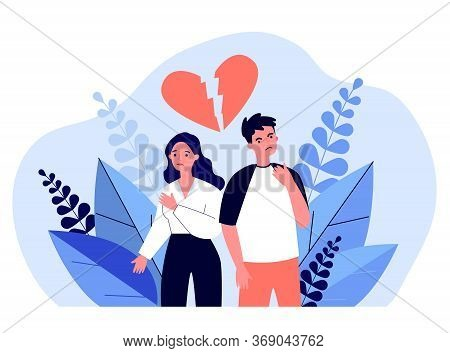 Dating Couple Having Conflict. Unhappy Man And Woman, Broken Heart, Quarrel Flat Vector Illustration