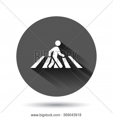 Pedestrian Crosswalk Icon In Flat Style. People Walkway Sign Vector Illustration On Black Round Back