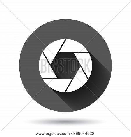 Camera Diaphragm Icon In Flat Style. Lens Sign Vector Illustration On Black Round Background With Lo