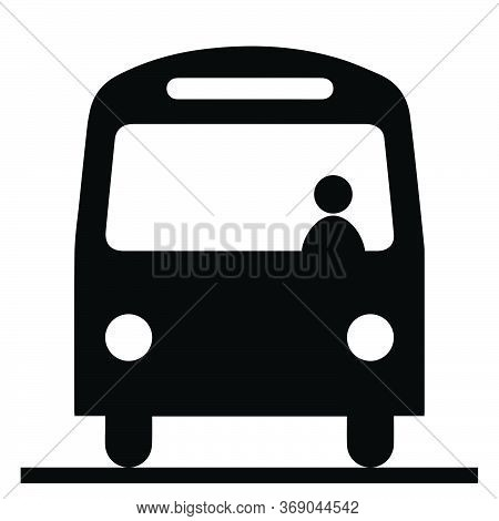 Bus Front View With Driver Conductor. Black And Whie Pictogram Illustration Icon Vector Eps File.