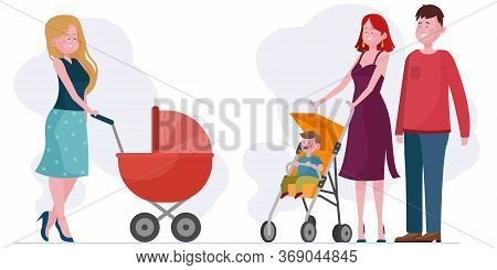 Parents Walking With Children In Prams Set. Couple With Toddler, New Mom With Baby In Stroller Flat