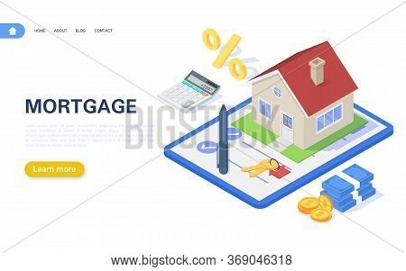Mortgage Banner Concept. Residential Building With A Mortgage Agreement On A White Background. Real