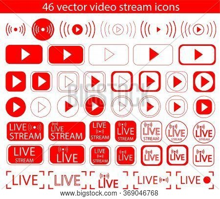 Live Video Streaming Icons Collection. Red Vector Symbols Of Live Streaming Illustration. Broadcasti