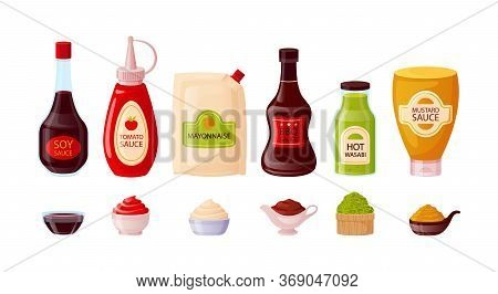 Sauce Set With Ketchup, Soy, Mayonnaise, Mustard, Bbq, Wasabi In Bowls. Sauce Bottles Of Glass, Plas