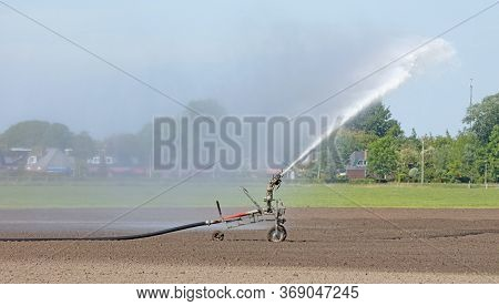 Field Is Irrigated By A Big Water Jet In The Dutch Countryside