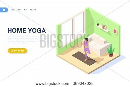 Concept Of Doing Yoga At Home. A Girl Is Standing In The Vrikshasana Position In Her Apartment.
