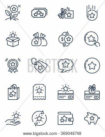 Loyalty Program Thin Line Icons Set. Symbols For Customer Incentive Rewards, Gifts And Bonus Cards I
