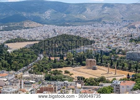 Olympian Zeus Temple And Panathenaic Ancient Stadium In Athens, View From Acropolis Hill. Attica, Gr