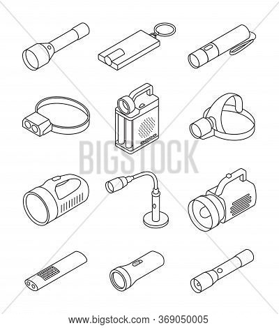 Flashlight Vector Illustration On White Background . Line Set Icon Spotlight. Vector Line Set Icon F