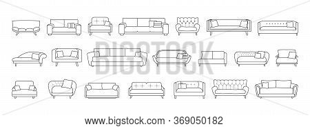 Sofa Isolated Line Set Icon. Vector Illustration Couch On White Background . Furniture Line Set Icon