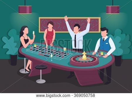 Casino Flat Color Vector Illustration. Man Win At Roulette Game. Woman Bet On Red. Put Stake On Blac