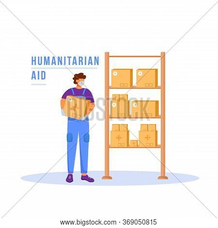 Humanitarian Aid Flat Color Vector Faceless Character. Man In Storage Room With Cardboard Boxes. Mat
