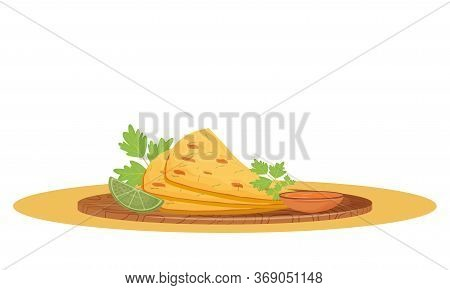 Naan Bread Cartoon Vector Illustration. Served Traditional Indian Meal, Flatbread With Sauce On Wood