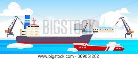Polar Station Flat Color Vector Illustration. Arctic Port 2d Cartoon Landscape With Glaciers On Back