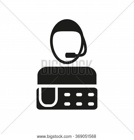 Simple Icon Of Person With Headset And Telephone. Call Manager, Helpline, Helpdesk. Fax Concept. Can