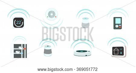 Smart Devices Flat Color Vector Objects Set. Intelligent Domestic Appliances 2d Isolated Cartoon Ill