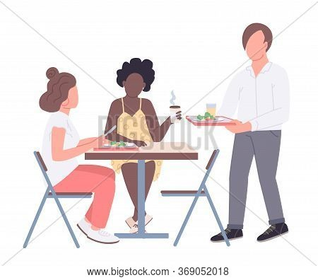 College Friends Flat Color Vector Faceless Characters. Teenagers On Lunch Break In Cafeteria Isolate