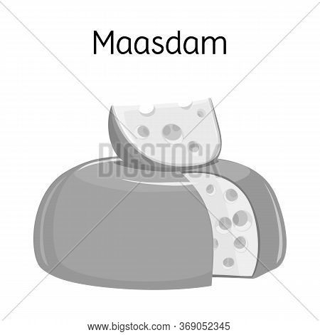 Vector Illustration Of Cheese And Maasdam Logo. Web Element Of Cheese And Piece Vector Icon For Stoc