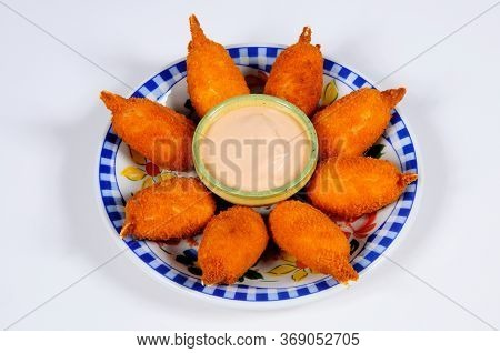 Tapas, Muslitos Del Mar (crab Bites) With Seafood Sauce, Mijas Costa, Costa Del Sol, Malaga Province