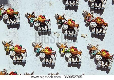 Ceramic Magnetic Donkeys Displayed Outside A Shop In The Village, Mijas, Costa Del Sol, Malaga Provi