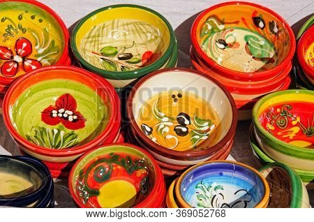 Ceramic Dishes Displayed Outside A Shop In The Village, Mijas, Costa Del Sol, Malaga Province, Andal
