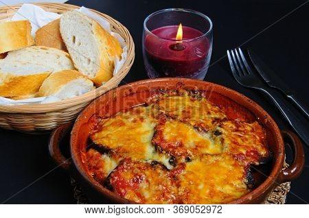 Aubergine Bake In An Earthenware Dish, Mijas Costa, Costa Del Sol, Malaga Province, Andalucia, Spain