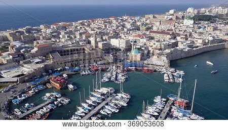 Acre Israel: Aerial Footage Of The Old City And Port Of Acre Or Akko, Israel.