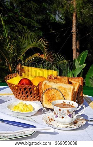Toast With Butter And Marmalade With Fresh Fruit To The Rear, Costa Del Sol, Andalucia, Spain, Europ