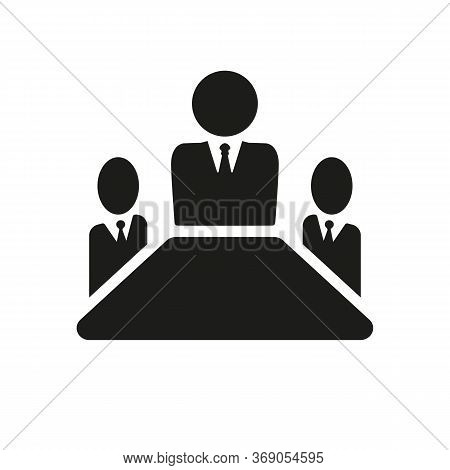 Simple Icon Of Leader And His Team. Leadership, Ceo, Subordination. Business Training Concept. Can B