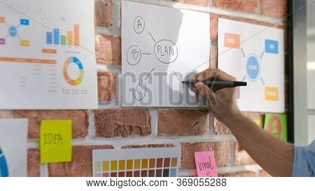 Design And Think, Close Up Of Creative Design Man Hand Writting Plan On Paper Work Ideas At Office W