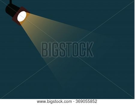 Flat Spotlight Shining Flat Illustration. Movie Spotlight On Blue Background. Vector