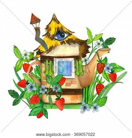 Fabulous Strawberry House In Vintage Style With A Chimney, Thatched Roof And Eye