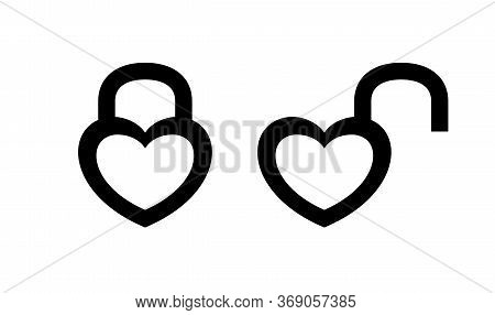 Heart Shaped Padlock In Locked And Unlocked Isolated On White, Heart Shape Padlock For Icon Cute, Va