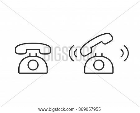 Retro Phone Icon. Outline Ringing Phone. Classic Cell In Simple Style In Black. Isolated Phone Symbo
