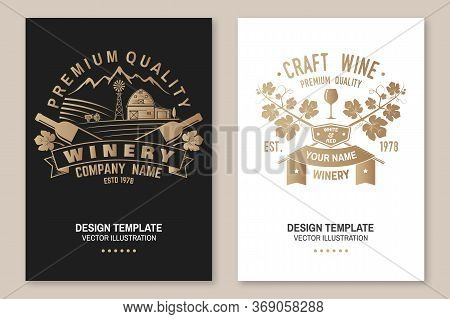 Winery Company Poster, Flyer, Template, Card. Vector Illustration. Vintage Design For Winery Company