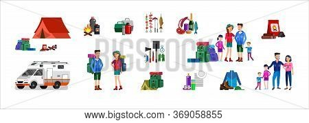 Men And Woman Character Camping Tourists. Camping Weekend Icons. Hiking And Camping Object. Vector C