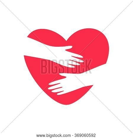 Hands Embracing Heart. Vector Logo Warm Embrace, Love Yourself, Cozy And Social Protection For Symbo