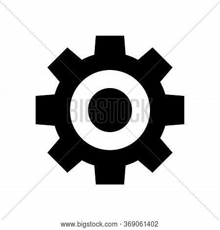 Circle Cog Black For Mechanization Icon, Gear Symbol For Button Progress Web, Simple Circle Cog Shap