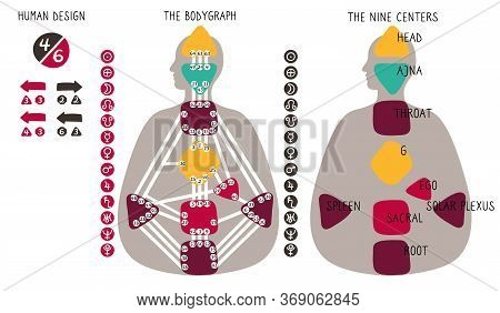 Human Design Bodygraph Chart. Nine Colored Energy Centers, Planets, Variables. Hand Drawn Vector Gra