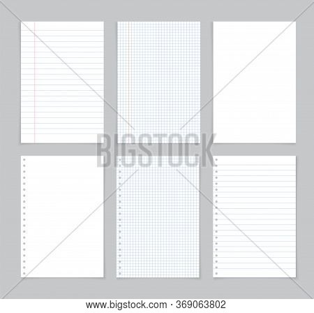 Paper Sheet From Notebook. White Page From Notepad With Blue And Red Lines. Notepaper For Note In Sc