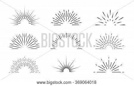 Sunburst Icon. Sun Burst With Lines. Retro Logo Of Half Circle With Radial Rays. Graphic Burst Of Su