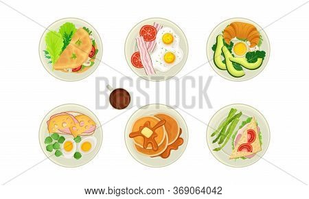 Food For Breakfast With Sandwich And Pancakes Rested On Plate Top View Vector Set