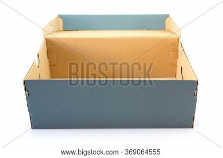 Opened Gray Clardboard Box Isolated On White Background In Clouding Cliping Path.