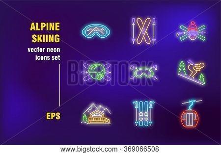 Alpine Skiing Neon Signs Set. Skier On Slope, Protective Helmet, Mountain Resort, Winter Sport. Nigh