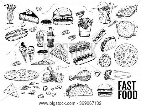 Set With Fast Food Illustration. Sketch Vector Illustration. Fast Food Restaurant, Fast Food Menu. H